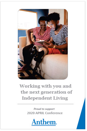 Anthem Working with you and the Next Generation of Independent Living Proud to Sponsor APRIL  photo young black man who is an amputee sitting on a couch reading next to an older black woman both smiling
